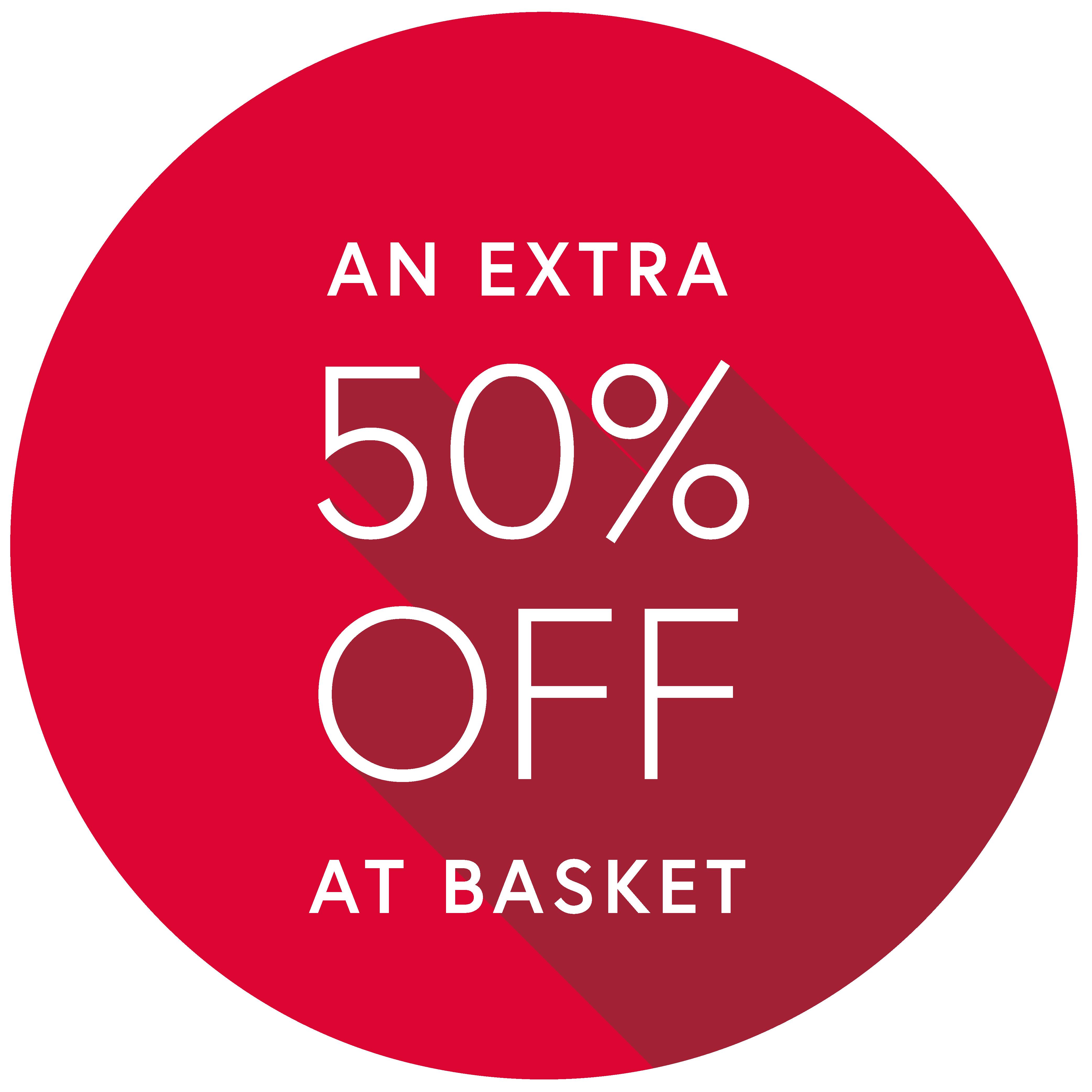 50% off at basket
